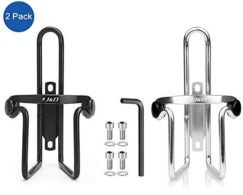J&D leichtgewichtige haltbare Flaschenhalterung aus Aluminium fürs Fahrrad, Fahrradhalterung für Wasserflaschen - 2er Pack (Schwarz und Silver) - Haltbare Aluminium-metall -