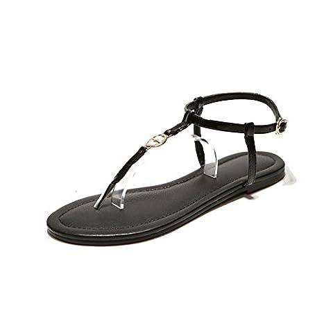 Leder Flach Bottom Clip Sandalen/European Und American Beach Student Sandalen-D (T-post Clips)