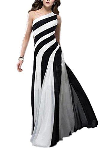 Bigood Robe Soirée Femme Une Epaule Mariage Cocktail Rayure Elégant Blanc