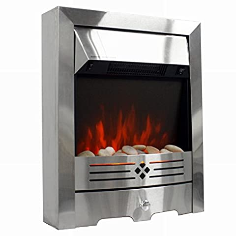 2 KW/1 KW Freestanding Electric Fireplace with Brushed Stainless Steel Fire - Planted LED Flame with Pebble Bed(Pebbles Supplied) Glow Effect