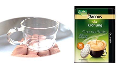Jacobs Kaffeepads Krönung Crema Kräftig 16 Stk + Design Glastasse, Kaffeetasse, Kaffee, Tasse,...