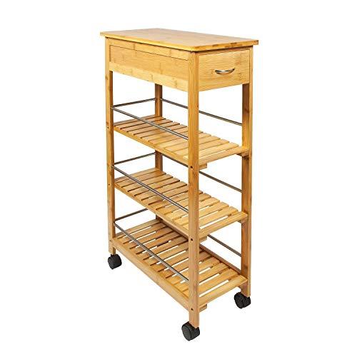 Generic itchen Porta Tragbarer Küchenwagen aus Bambus Holz mit 4 Etagen