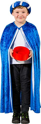 Kostüm Heiligen Kinder - Unbekannt Kinder Kostüm Heilige DREI Könige Umhang Weihnachten Fasching Karneval (blau)