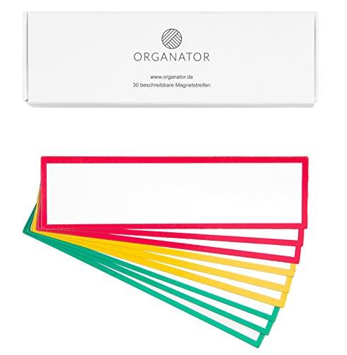 30 beschreibbare Magnetstreifen in rot-gelb-grün - Magnetschilder 11 cm x 3 cm - Whiteboard Zubehör - Magnete - Kühlschrankmagnete - Lagerbeschriftung - Wochenplaner Zubehör Magnete