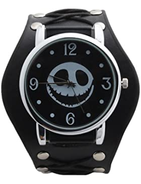 UNIQUEBELLA Punk Gothic Element Armbanduhr Nieten Schädel Metall Kette Lederarmband Herren Damen Uhr Geschenk...