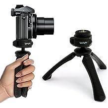 igadgitz Mini Ligera Trípode de Mesa & Mano Estabilizador para Cámara Digital, Réflex Digital, Cámara de Vídeo y Videocámara – Negro