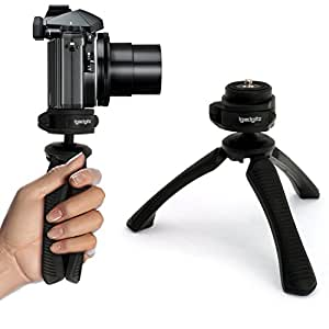 iGadgitz PT310 Mini Lightweight Table Top Stand Tripod and Grip Stabilizer for Digital Camera, DSLR, Video Camera & Camcorder – Black
