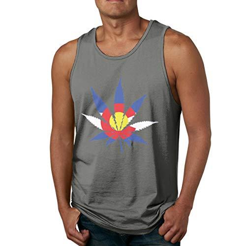 Abigails Home Colorado Flag Marijuana Männer Tanktop ärmellose Shirts T-Shirt Basketball Sport T-Shirt T-Shirts Outdoor Fitness(S,Deep Heather) -