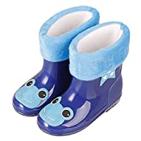 LYXFZW,Rain Boots For Kids,girls,Rubber Wellington Boots Children With Soft Plush Warm Lining Cute Waterproof Non-Slip Boys Easy Wipe Blue Frog Removable For Outdoor School Garden