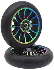 2 ruedas de repuesto profesionales de 100 mm, con rodamientos ABEC 9, para scooter MGP/Razor/Lucky Pro., colorful