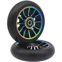 2 ruedas de repuesto profesionales de 100 mm, con rodamientos ABEC 9, para scooter