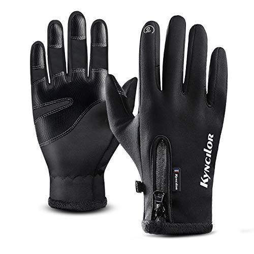 T98 Touchscreen Handschuhe, Fahrradhandschuhe Laufhandschuhe Winter Warme Sporthandschuhe Herren Damen Winddicht Wasserdichter Winterhandschuhe für Radfahren, Wandern, Skifahren(Black, XL)
