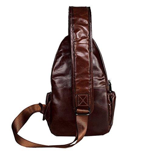 M Yy.f Neue Lederbrusttasche Umhängetasche Erste Schicht Aus Leder Herren-Brust Kuriertasche Tasche Fest Farbe 2 Black