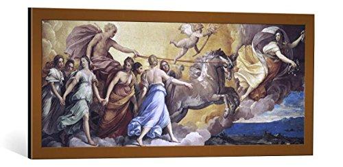"""Quadro con cornice: Guido Reni """"Aurora"""" - stampa artistica decorativa, cornice di alta qualità, 100x40 cm, Rame spazzolato"""