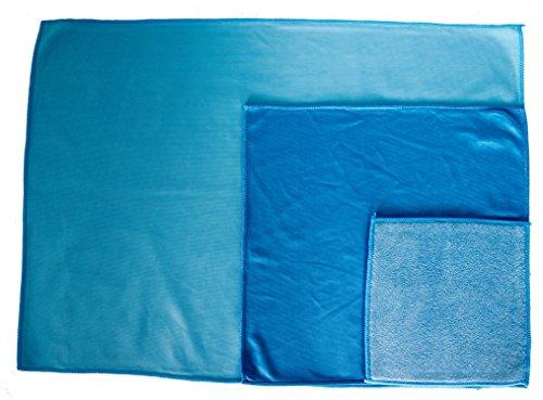 Sonty Fenster 6er Set aus Microfaser blau, Fenstertuch 50 x 70cm, 38 x 38cm, 23 x 23cm (2)