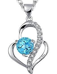 """Dawanza Colgante de Corazon Collar para Mujer Grabado """"Te amo"""" Chapado en Oro Blanco con Colgante deCorazon de Cristal Azul Regalo para mujer"""