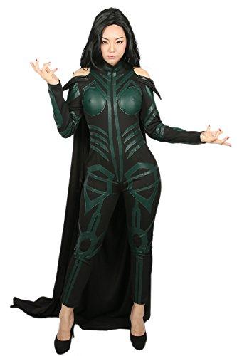 Kostüme Halloween Avenger (Halloween Hela Cosplay Kostüm Damen Jumpsuit PU Outfit für Erwachsene Verrücktes Kleid Kleidung Merchandise)