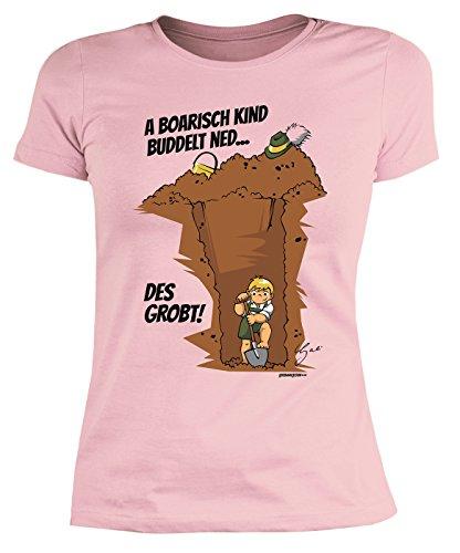 Lustiges Damen Shirt bayrische Sprüche Dialekt : A boarisch Kind buddelt ned… des grobt! by Gali -- Damenshirt bayrische Kinder Rosa