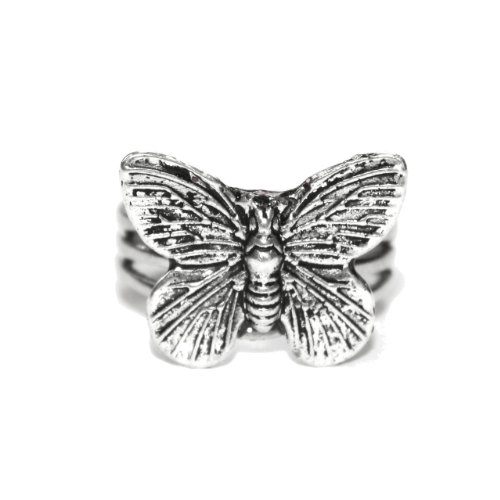 Sour Cherry Silver Detailed Butterfly Ring