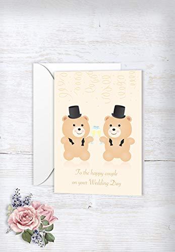 2f54da2e gay Teddy Bear Grooms - Same sex wedding card - gay wedding card