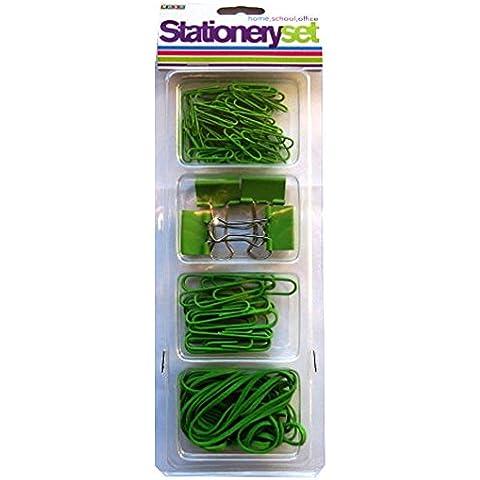 Stationery-Set di accessori, colore: verde, S & L-Clip per fogli di carta, motivo: Bulldog con clip, elastici, Prodotto da