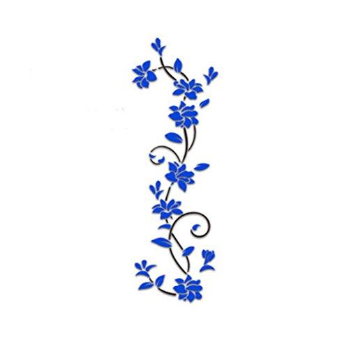 Dragon868 3d adesivi murali grande fiori fai da te adesivi murali cameretta cucina salotto home decor (blu)