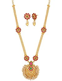 Apara Floral Multicolour Necklace Set With Kundan And Pearl Beading For Women