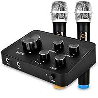 Mixer Mezclador de Micrófono Karaoke Portátil, con doble micrófono inalámbrico UHF, entrada y salida HDMI y AUX para karaoke, cine en casa, amplificador, altavoz