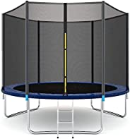 ENKLOV Trampoline, High Quality Kids Outdoor Trampolines Jump Bed With Safety Enclosure Exercise Fitness Equip