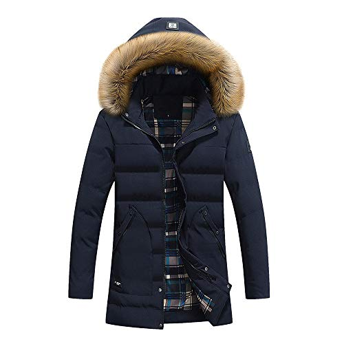 Moika abbigliamento uomo uomini autunno inverno colore puro tasca open a hat cerniera cappuccio giacca top cappotto(xxx-large, blu scuro)