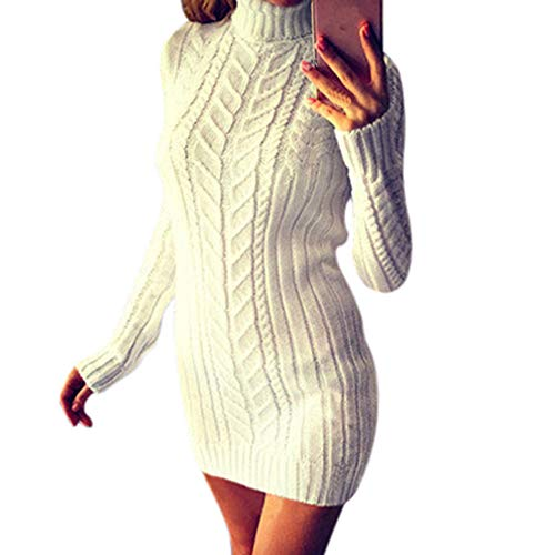 JUNMY Mujer Vestido Punto suéter Manga Larga Cuello