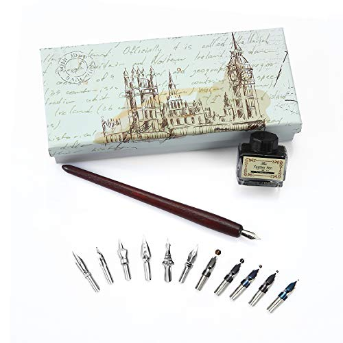 Feather Quill Pen - Set calligrafia penna kit - Metallo con inchiostro vintage writing Feather DIP Pen set regalo Wooden Calligraphy Set