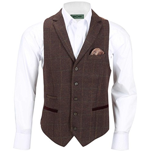 Xposed Herren Blazer Anzug, Karo * Waistcoat-Collar-Maroon Brown