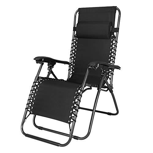 Casaria Liegestuhl | Verstellbar Kopfpolster Klappbar Stahl Fußschoner | Garten Liege Hochlehner Gartenstuhl Schwarz (Liegestühle)