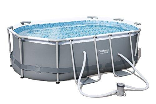 Bestway Power Steel Frame Pool Set oval, mit Kartuschenfilterpumpe, 300x200x84 cm, grau