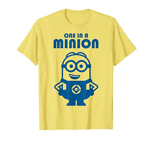 Despicable Me One In A Minion Solid Blue Print T-Shirt (Minion One A In Shirt)