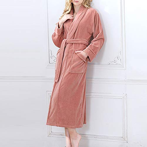 Damen Bademantel Baumwolle, Plus Samtverdickung Super Soft Komfortable Spa Robe Lounge Haus Leichte Robe for Frauen-M, L, XL (Color : Coral, Size : L)