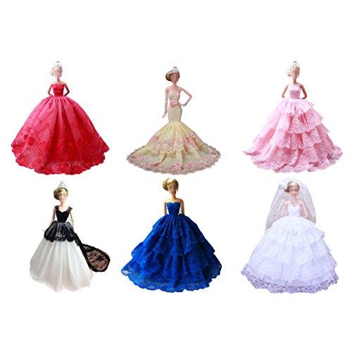 Lance home 4 pz moda fatto a mano vestito da sposa gonna per barbie casuale stile