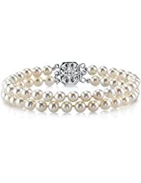 Round White Freshwater Cultured Pearl Double Strand Bracelet - AAAA Quality