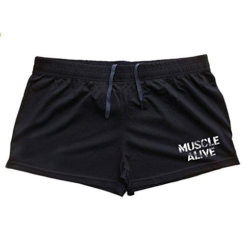 Musclealive Uomo Palestra Gli sport 3 inseam Bodybuilding Pantaloncini Cotone