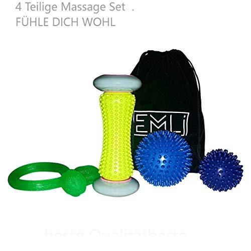 Professionelle 4 Teilige Igelball Set.  -1Fußmassage-1Gummiband Fitness-2Igelbälle für Entspannung und Muskelschmerzen,Akupressur