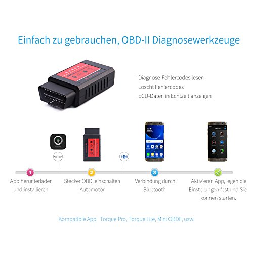 AUTOGEN OBD2 Bluetooth Adapter Diagnosegerät ELM327 II mit