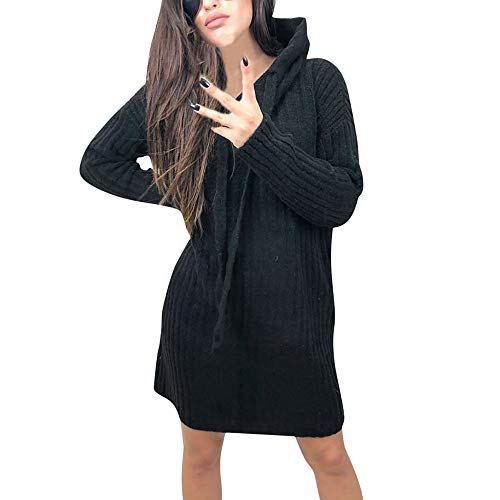 (BHYDRY Damens Casual Langarm Pullover Hoodie Pullover Bluse Tops Sweatshirt(EU-38/CN-L,Schwarz))