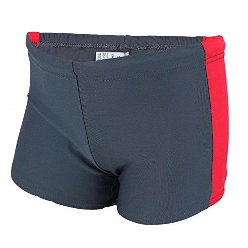 Aquarti Jungen Badehose Sportliche Schwimmshorts, Farbe: Graphit / Rot, Größe: 152