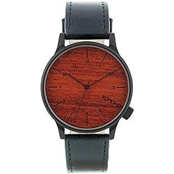 Komono Men's Quartz Watch with Brown Dial Analogue Display and Black Leather Strap KOM-W2020
