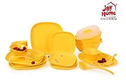 Joy Home Microwave Safe Dinner Set-32 pcs Square Yellow