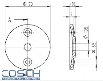 Edelstahlronde V2A 70,0x5,0 mm, Mittelbohrung 10,5mm, mit gesenkten Außenbohrungen einseitig geschliffen von Cosch-Edelstahltechnik - Du und dein Garten