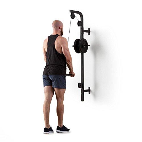 Klarfit Hangman Latzug • Máquina de poleas • Poleas de Entrenamiento • En casa • Montaje en Pared • Hassta 100 kg • 2,5 m de Cuerda • Barra de tríceps • Estructura de Acero • Silencioso • Negro