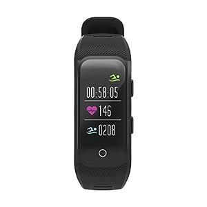 OOLIFENG Reloj Running con GPS, IP68 Impermeable GPS para Ciclismo Velocímetros con Pulsómetros para Al Aire Libre Aventurero,Black