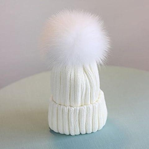 XJoel Frauen Mädchen Strickwolle Schnee-Hut Häkelarbeitwinter Slouchy Beanie Schädel-Kappe Weiß